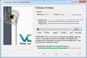 Alte metode de criptare utilizate - VeraCrypt - Formatarea volumului creat