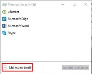 Alte modalitati de marire a vitezei computerului - Task Managerul fara detalii