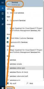 Cum sa opresti telemetria in Windows 7, Windows 8 sau Windows 10 - deschiderea aplicatiei Services in Windows 10