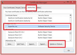 Eliminarea certificatelor Superfish din Firefox si Thunderbird