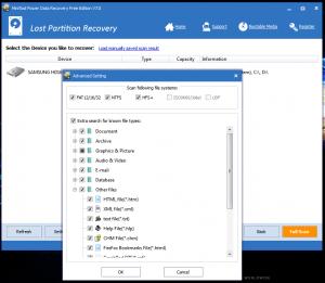 Utilizarea programului de recuperare date - tab-ul Lost Partition Recovery - Settings - Other Files